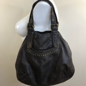 Marc Jacobs dark brown leather hobo purse, large